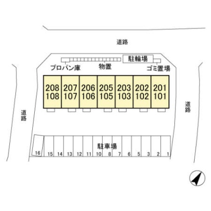 栃木県宇都宮市ゆいの杜7丁目[1LDK/41.71m2]の配置図