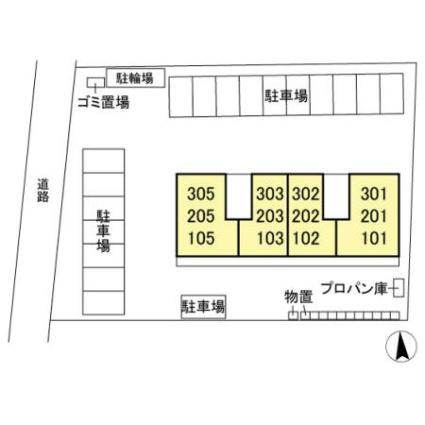 栃木県宇都宮市平出町[1LDK/35.21m2]の配置図