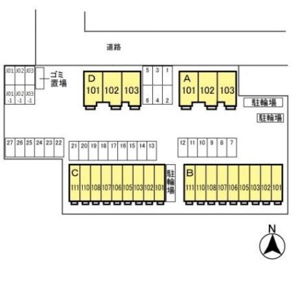 栃木県宇都宮市ゆいの杜4丁目[3LDK/84.43m2]の配置図