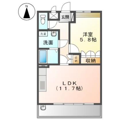 クローバーハウスB[1LDK/44m2]の間取図