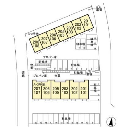 栃木県宇都宮市ゆいの杜7丁目[1LDK/34.9m2]の配置図