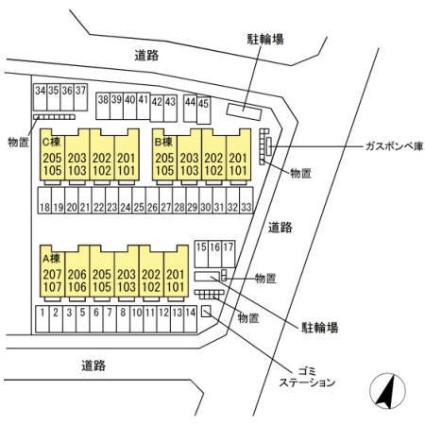栃木県宇都宮市清原台5丁目[1LDK/46.68m2]の配置図