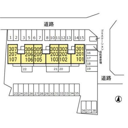 栃木県宇都宮市泉が丘2丁目[1LDK/46.3m2]の配置図