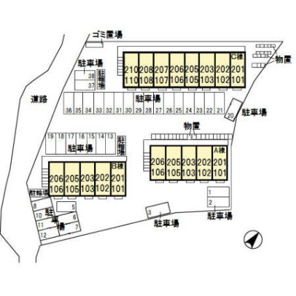栃木県宇都宮市松原3丁目[1R/30.27m2]の配置図