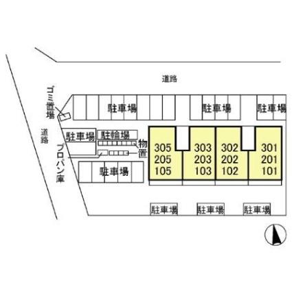 栃木県宇都宮市平松本町[2LDK/58.37m2]の配置図