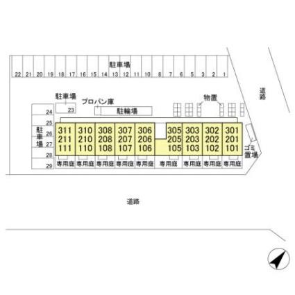 栃木県宇都宮市下岡本町[1LDK/33.39m2]の配置図