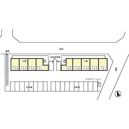栃木県宇都宮市下岡本町[1LDK/29.25m2]の配置図