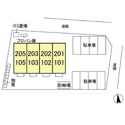 栃木県宇都宮市東峰町[1R/30.27m2]の配置図