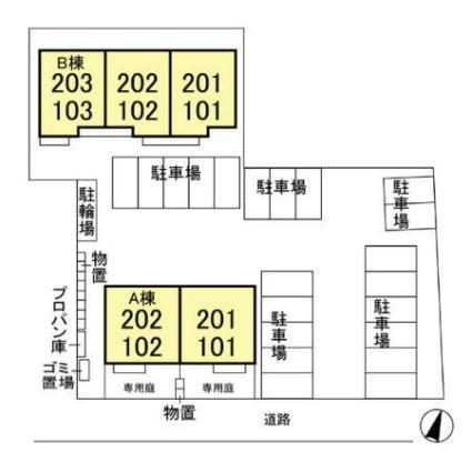 栃木県宇都宮市御幸町[2LDK/57.56m2]の配置図