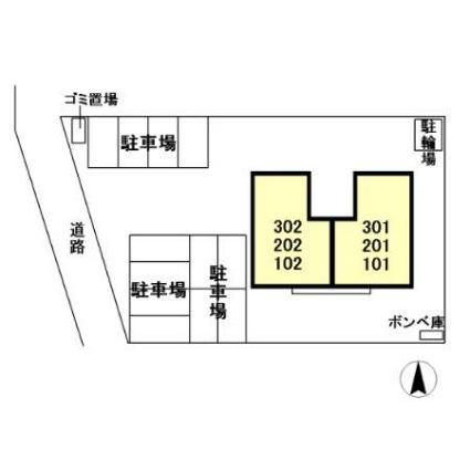 栃木県宇都宮市川田町[2LDK/56.3m2]の配置図