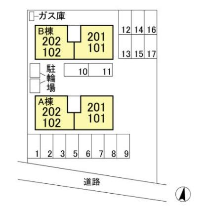 栃木県宇都宮市岩曽町[2LDK/55.47m2]の配置図