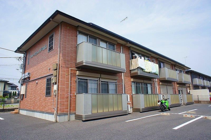 栃木県宇都宮市、雀宮駅関東バスバス20分さつき3号児童公園下車後徒歩7分の築10年 2階建の賃貸アパート