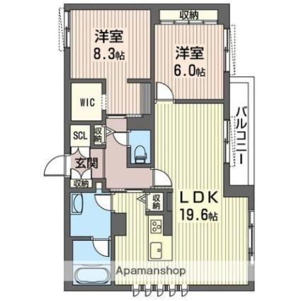仮称 那須塩原市扇町ベレオC3[2LDK/80.82m2]の間取図