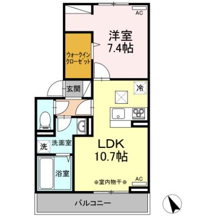 グランテラス紫塚 Ⅱ[1LDK/44.21m2]の間取図