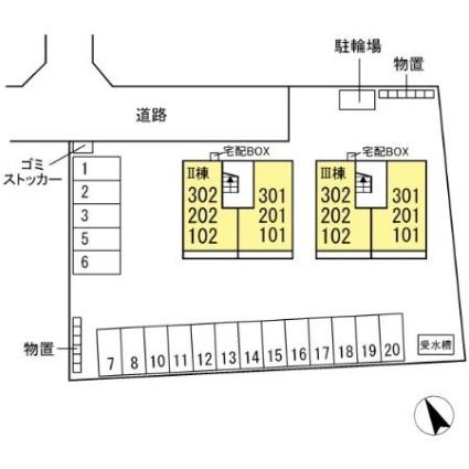 グランテラス紫塚 Ⅱ[1LDK/44.21m2]の配置図
