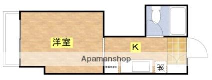 カクニハイツ[1K/20.4m2]の間取図