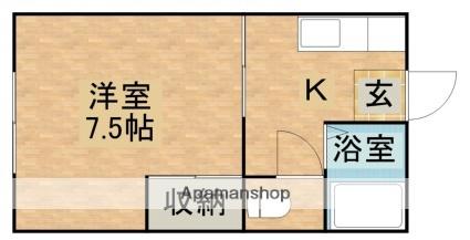 アニバーサルami[1K/23.19m2]の間取図