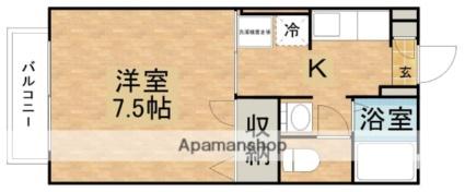 ディアス元町B[1K/24.71m2]の間取図