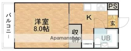 コーポしんとみA[1K/26.49m2]の間取図
