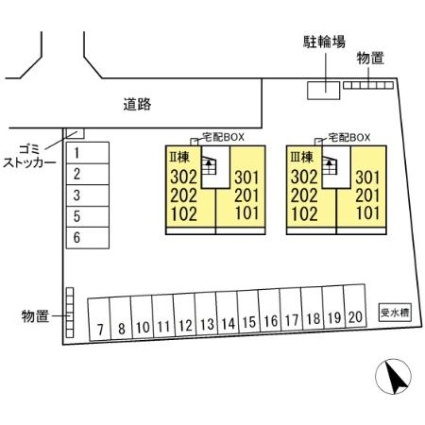 栃木県大田原市紫塚3丁目[1LDK/44.21m2]の配置図