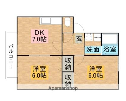 グリーンガーデン美原D[2DK/45.34m2]の間取図