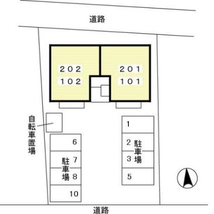 栃木県矢板市東町[2LDK/55.44m2]の配置図