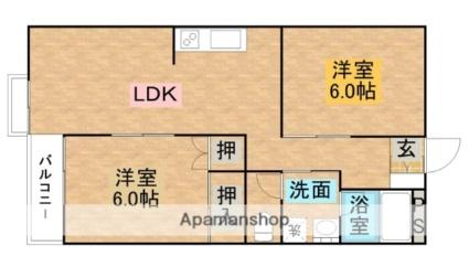 ストンパレス黒磯[2LDK/53.86m2]の間取図