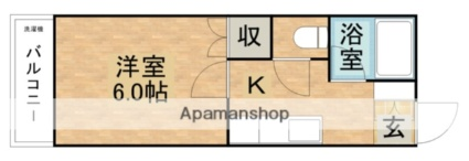From House B[1K/19.87m2]の間取図