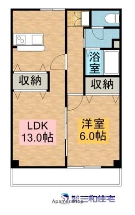 メゾン・ド・オザキ[1LDK/46.37m2]の間取図