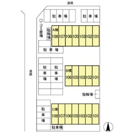 キューブタウン長田 C[1DK/43.33m2]の配置図