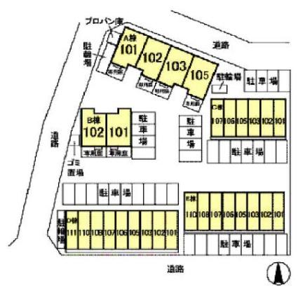 リースランド野高谷 E[1DK/43.33m2]の配置図