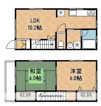 川上アパートA棟[2LDK/53m2]の間取図