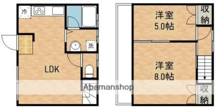 川上アパートB棟[2LDK/53.8m2]の間取図