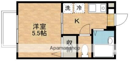 サニーコーポ竹下町[1K/21m2]の間取図