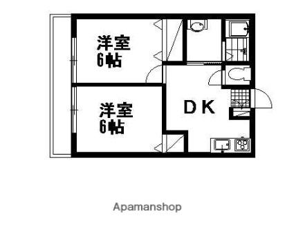カーサ天神台A[2DK/40.5m2]の間取図
