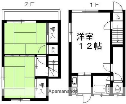 本間アパート[2LDK/52m2]の間取図