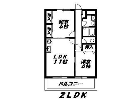 ニューマリッチイシカワ弐号館[2LDK/55.39m2]の間取図