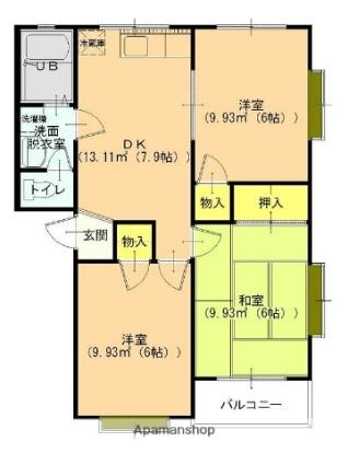 アネックス21 城之腰1[3DK/52.99m2]の間取図