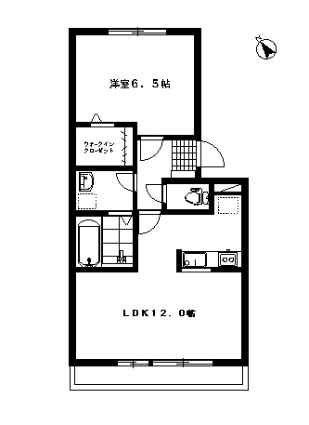 栃木県足利市山川町[1LDK/44.32m2]の間取図