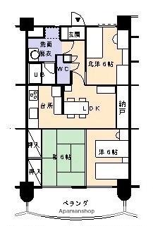 足利スカイタワー16[3LDK/62.37m2]の間取図