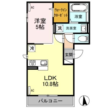 栃木県足利市福居町[1LDK/39.21m2]の間取図