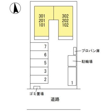 栃木県足利市福居町[1LDK/39.21m2]の配置図
