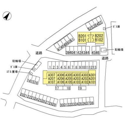 栃木県足利市大前町[1LDK/40.07m2]の配置図
