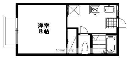 ドミールわたらせ[1K/24.5m2]の間取図