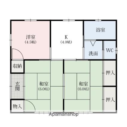 福富町貸家[3K/46.37m2]の間取図