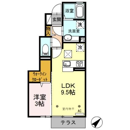 栃木県足利市山川町[1LDK/34.21m2]の間取図
