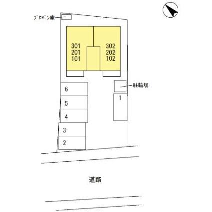 栃木県足利市大前町[1LDK/35.46m2]の配置図