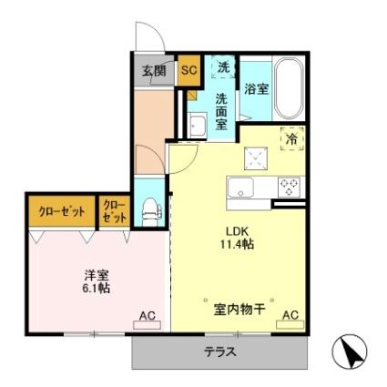 栃木県足利市福居町[1LDK/43.71m2]の間取図