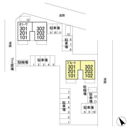 栃木県足利市山川町[2LDK/60.88m2]の配置図