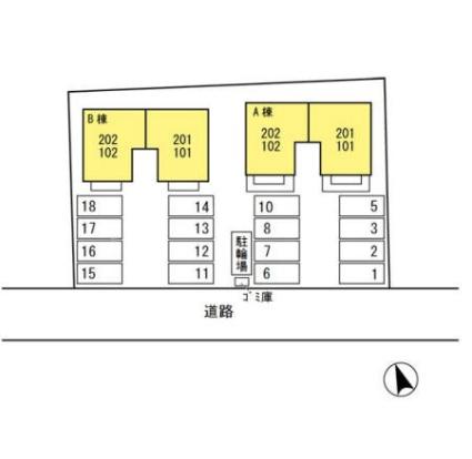 栃木県足利市山川町[2DK/55.44m2]の配置図